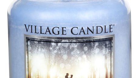 VILLAGE CANDLE Svíčka ve skle Rain - velká, modrá barva, sklo