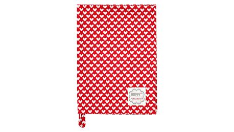 Krasilnikoff Utěrka Red White Heart, červená barva, textil