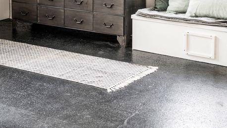 IB LAURSEN Bavlněný koberec Black/white 60x180, černá barva, bílá barva, textil