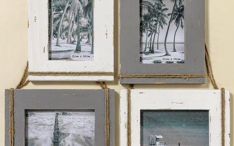 Sada 4 nástěnných fotorámečků z jedlového dřeva Boltze Lovro, na fotografii 10x15 cm