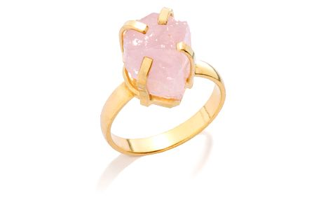 DECADORN Prsten Mini Rose Quartz/Gold, růžová barva, zlatá barva, kov, kámen
