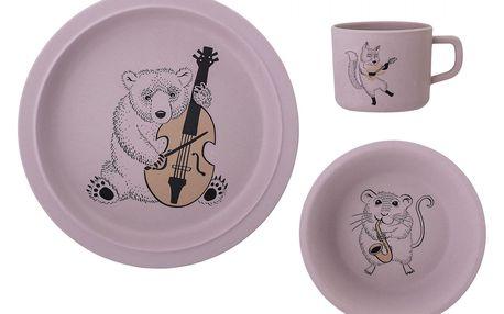 Bloomingville Sada dětského nádobí z bambusu Rose, růžová barva, plast, melamin