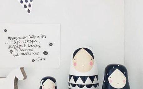 PETIT MONKEY Matrjoška Black and white, černá barva, bílá barva, dřevo