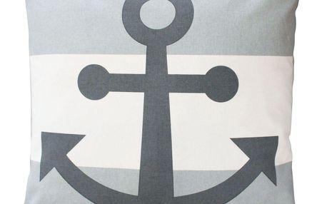 Krasilnikoff Bavlněný povlak na polštář Grey Anchor 50x50, šedá barva, bílá barva, textil