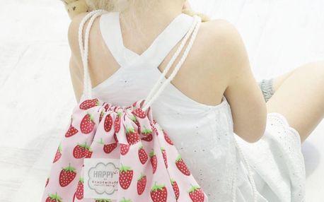 Krasilnikoff Látkový batůžek Strawberry, růžová barva, textil
