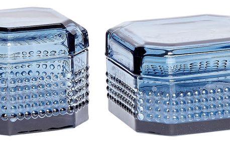 Hübsch Skleněná krabička Blue Menší, modrá barva, sklo