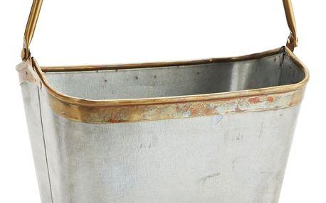MADAM STOLTZ Zinkový kbelík Brass border, šedá barva, zlatá barva, zinek