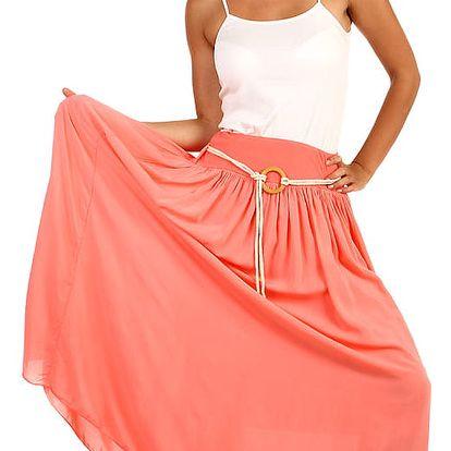 Romantická dámská maxi sukně lososová