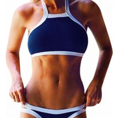 Dámské sportovní plavky s bílým lemováním