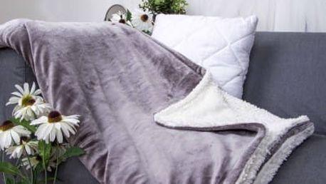 XPOSE ® Deka mikroflanel s beránkem - tmavě šedá 140x200 cm