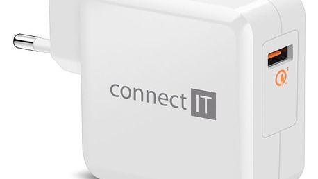 Nabíječka do sítě Connect IT InCarz, 1x USB (3A), s funkcí rychlonabíjení QC 3.0 bílá (CWC-2010-WH)