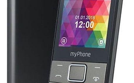 Mobilní telefon myPhone 7300 Dual SIM černý/stříbrný + dárek (TELMY7300GR)