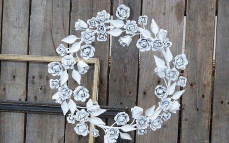Chic Antique Zinkový dekorativní věnec Roses, šedá barva, bílá barva, zinek