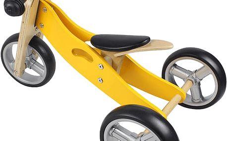 NICKO Dřevěné odrážedlo 2v1 mini tříkolka – žluté