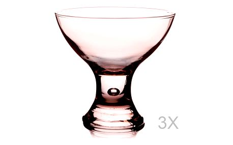 Sada 3 růžových skleniček na servírovaí zmrzliny Paşabahçe, ⌀ 8 cm