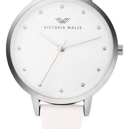Dámské hodinky s bílým koženým řemínkem Victoria Walls Mist