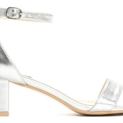Dámské stříbrné sandály na podpatku Mirror 2204