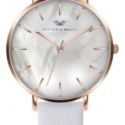 Dámské hodinky s bílým koženým řemínkem Victoria Walls Pearl