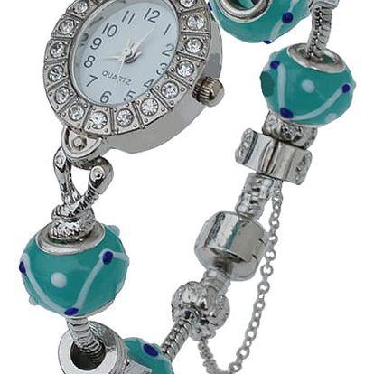 Elegantní náramkové dámské hodinky s krystaly a korálky