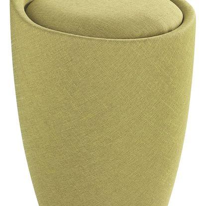 Taburet CANDY GREEN - koš na prádlo, 2 v 1, WENKO