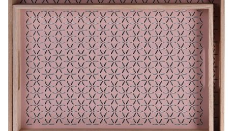 Dřevěný podnos snídaňový - 2ks, barva růžová Home Styling Collection