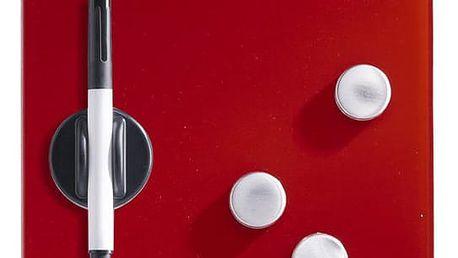 Skleněná magnetická tabule MEMO, barva červená + 3 magnety a 4 háčky, 40x20 cm Zeller