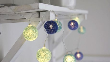 STAR TRADING Dekorativní svítící řetěz Blue Lights, modrá barva, textil