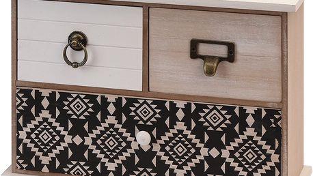 Home Styling Collection Dřevěná skříňka se zásuvkami na drobnosti, 3 přihrádky