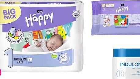 4x BELLA HAPPY Newborn 1 pleny (2-5 kg) 78 ks + Indulona Tělový krém 250 ml + Happy Wipes 24 ks