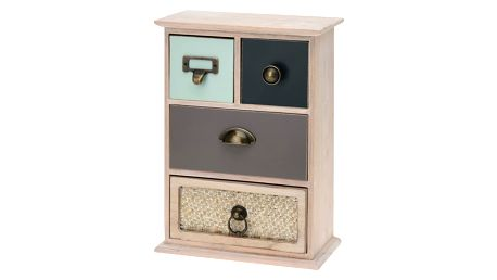 Home Styling Collection Dřevěná skříňka na drobnosti, se 4 zásuvkami
