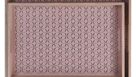 Home Styling Collection Dřevěný podnos snídaňový - 2ks, barva růžová