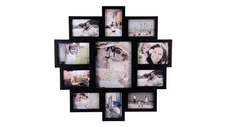 Fotorámeček na 11 fotografií Family černá, 61x61x2 cm