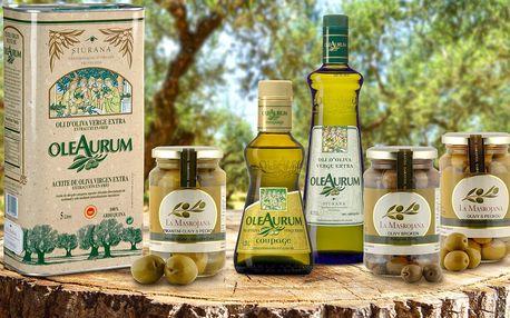 Španělské olivy různých odrůd a panenské oleje