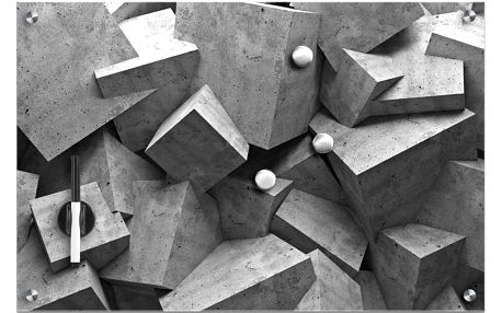 Skleněná magnetická tabule World + 3 magnety, 60x40 cm, ZELLER