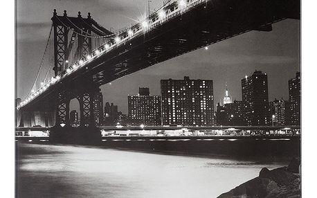 Skleněná magnetická tabule pro poznámky + 5 háčků, Manhattan Bridge, WENKO