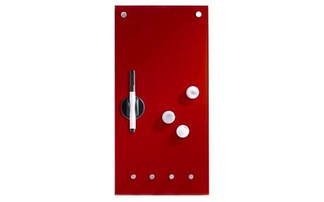 ZELLER Skleněná magnetická tabule MEMO, barva červená + 3 magnety a 4 háčky, 40x20 cm