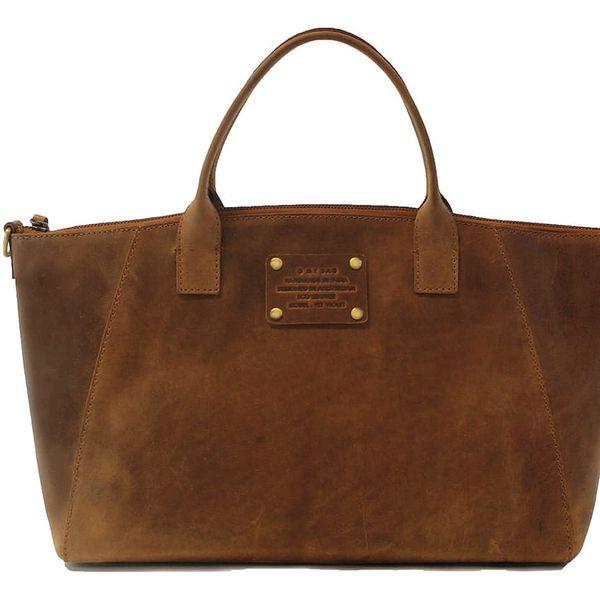 Hnědá kožená kabelka O My Bag Fly Violet Maxi