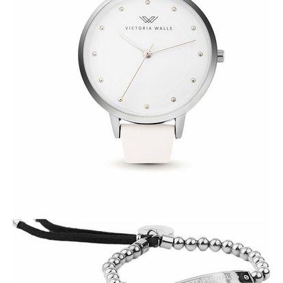 Set dámských hodinek s bílým koženým řemínkem a náramku Victoria Walls
