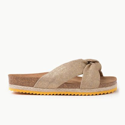 Pantofle Paez Bio Foulard Sandal - Linen Gold Hnědá