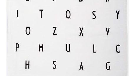 DESIGN LETTERS Bavlněná utěrka Letters White, černá barva, bílá barva, textil