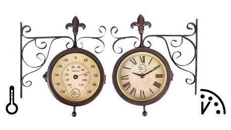 Nástěnné hodiny s teploměrem Esschert Design Rustic