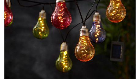 Barevný solární světelný LED řetěz Best Season Glow, 10 světýlek