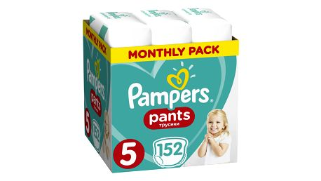 PAMPERS Pants 5 Active Baby Dry 152 ks (12-17 kg) MĚSÍČNÍ ZÁSOBA - plenkové kalhotky
