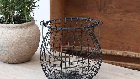Chic Antique Drátěný košík Antique Coal, šedá barva, černá barva, kov