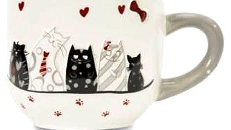 Krásný velký hrnek,miska na čajový sáček nebo stojánek na vejce s motivem kočiček, originální dárek.