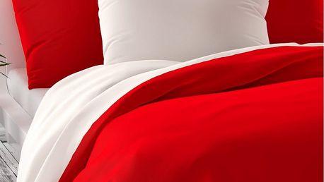Kvalitex Saténové povlečení Luxury Collection červená / bílá, 140 x 200 cm, 70 x 90 cm