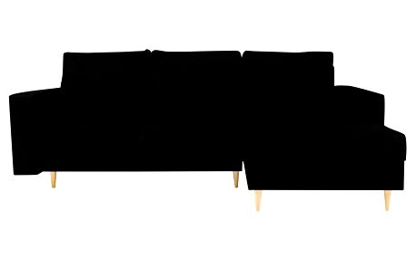 Černá rohová rozkládací pohovka s lenoškou na pravé straně Kooko Home Iris
