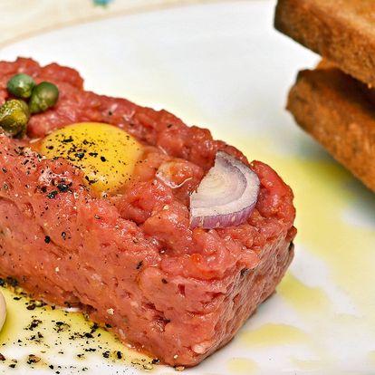 3chodové menu se steakem nebo candátem + víno