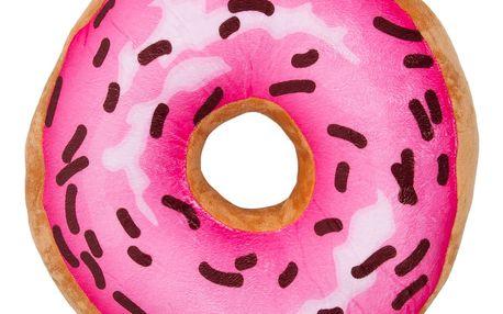 Jahu Tvarovaný polštářek Donut růžová, 34 cm