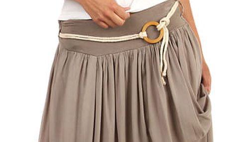 Romantická dámská maxi sukně hnědá